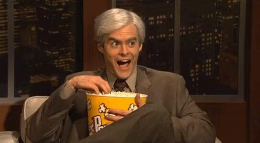bill hader, popcorn, waiting, watchthis, Popcorn Bill HAder GIFs