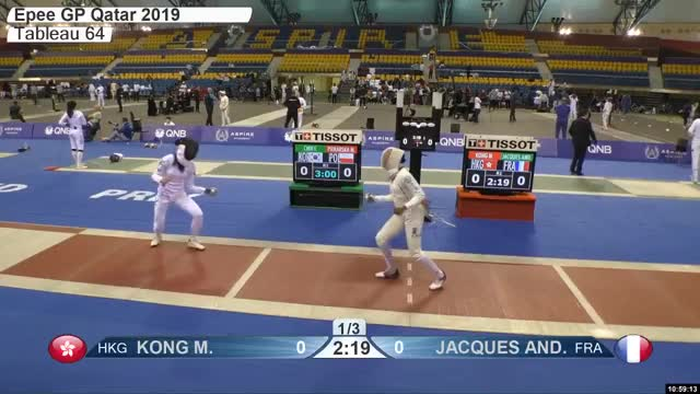 Watch KONG M 1 GIF by Scott Dubinsky (@fencingdatabase) on Gfycat. Discover more gender:, leftname: KONG M, leftscore: 1, rightname: IACQUES AND, rightscore: 0, time: 00009229, touch: left, tournament: doha2019, weapon: epee GIFs on Gfycat