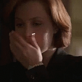 agent scully, dana scully, embarrassing, gilian anderson, gillian anderson, i love her, mine, reaction, reaction gif, the x files, trying not to laugh, welp i tried, x files, (beware: spoilers) GIFs
