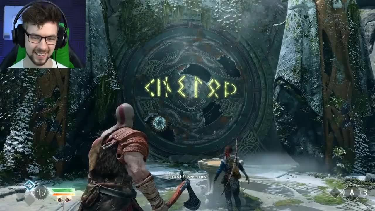 All Tags, GamePlay, Kratos, Norse, OST, PS4, Reboot, freya, jacksepticeye, music, playthrough, remake, series, son, soundtrack, Boy. What do those runes say? GIFs