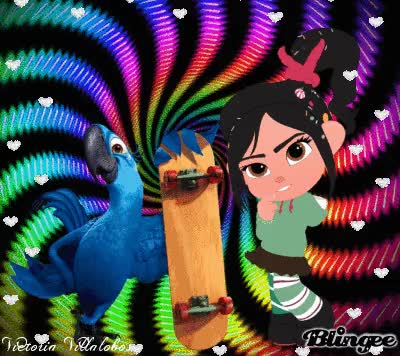Watch and share Vanellope Meet Blu The Parrot GIFs on Gfycat