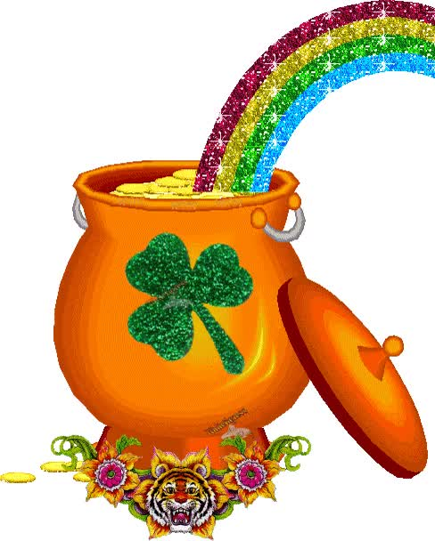 Watch and share Pot Of Gold At The End Of The Rainbow Glitter Rainbow Gif Luck Clover Greeting St Patricks Day Pot Of Gold GIFs on Gfycat