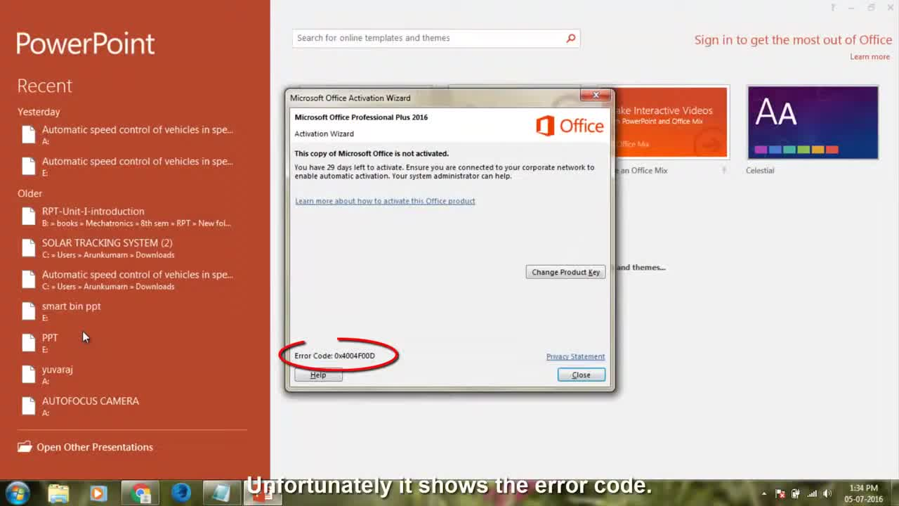 office 365 error code key_not_activated
