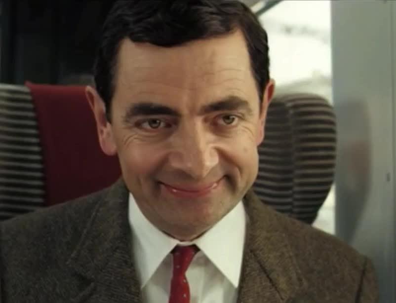 bean, dumb, ew, ewww, face, fun, funny, gif brewery, idiot, johnny english, movies, mr bean, rowan atkinson, stupid, train, ugly, ugly face, Mr Bean dumb face GIFs