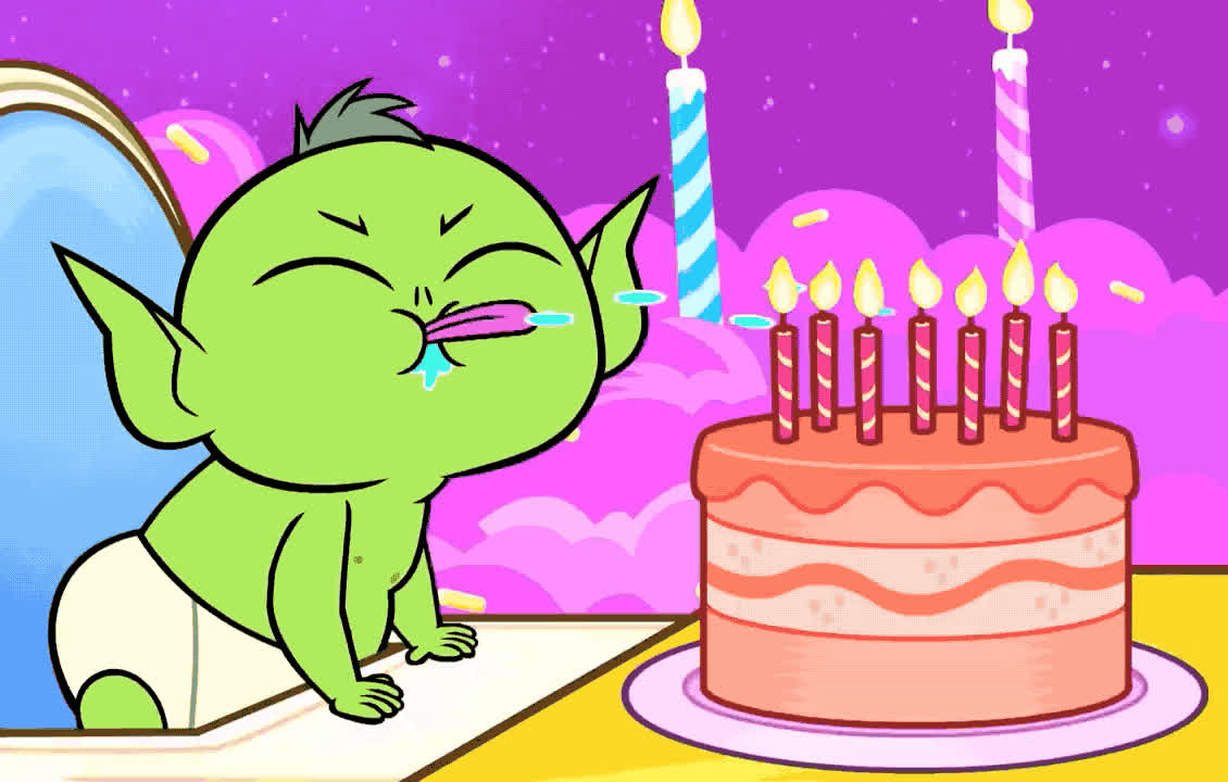 awww, baby, beast, birthday, blow, cake, candles, cartoon, cute, epic, funny, go, happy, happy birthday, lol, network, spit, teen, titans, try, Teen Titans Go - Baby beast's bday GIFs