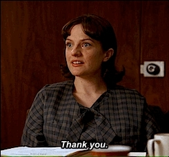 3.03, elisabeth moss, elizabeth moss, fat, gif, harry crane, mad men, madmen, patio, peggy olsen, pepsi patio, rich sommer, someone telling you you used to be fat, television, thank you, Look, I have elbows! GIFs
