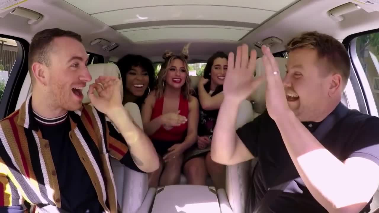 bff, carpool, deal, fifth, five, friends, got, harmony, high, it, james, karaoke, sam, smith, ten, Carpool Karaoke w/ Sam Smith ft. Fifth Harmony GIFs