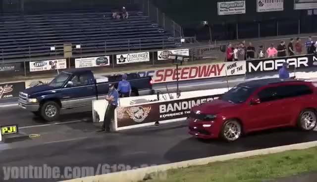 Watch and share 2014 Jeep Grand Cherokee SRT8 Vs Dodge Ram Cummins GIFs on Gfycat