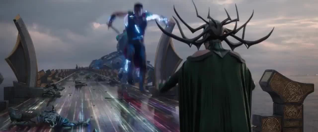 cate blanchett, chris hemsworth, thor, thor ragnarok, Thor and Valkyrie vs Hela - Thor Ragnarok GIFs