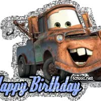 Watch and share Happy Birthday, Tow Mater animated stickers on Gfycat
