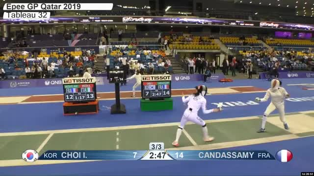 Watch CHOI L 8 GIF by Scott Dubinsky (@fencingdatabase) on Gfycat. Discover more gender:, leftname: CHOI L, leftscore: 8, rightname: CAN DASSAMY, rightscore: 15, time: 00021696, touch: double, tournament: doha2019, weapon: epee GIFs on Gfycat