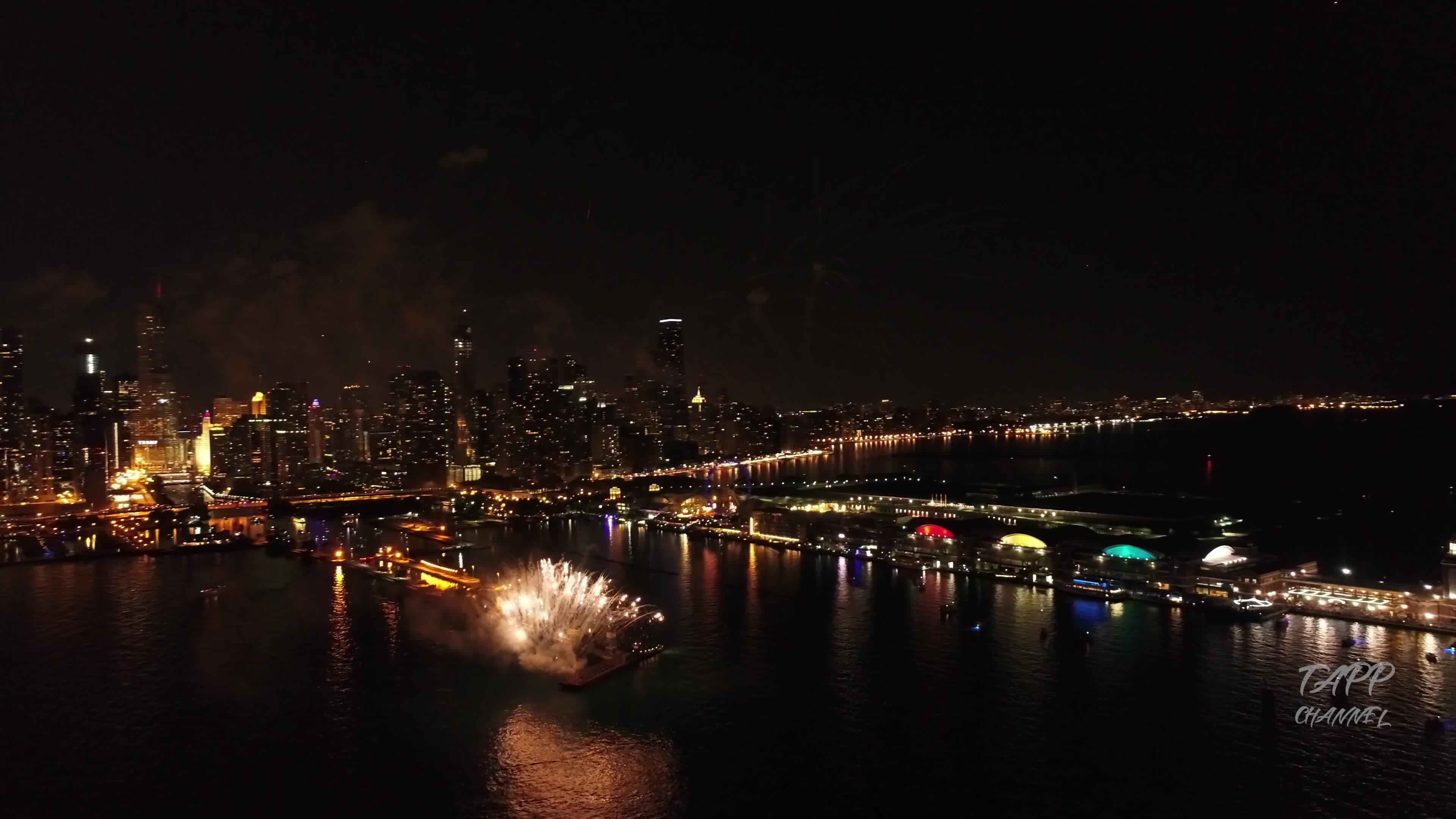 2018, Chicago, Drone, Fireworks, Illinois, Summer Fireworks, Windy City, city drone, cityscape, navy pier, Chicago Aon Summer Fireworks - Drone Footage GIFs