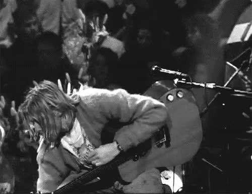 Watch this GIF on Gfycat. Discover more 90's grunge, Black and White, bands, cigarette, grunge, guitar, kurt, kurt cobain, music, nirvana, punk, rock n' roll, smoking GIFs on Gfycat