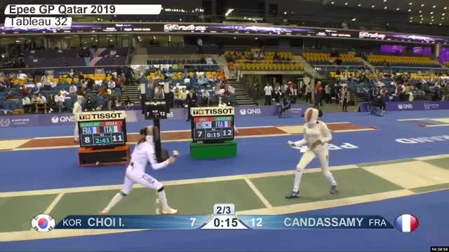 Watch CHOI L 7 GIF by Scott Dubinsky (@fencingdatabase) on Gfycat. Discover more gender:, leftname: CHOI L, leftscore: 7, rightname: CAN DASSAMY, rightscore: 13, time: 00021579, touch: right, tournament: doha2019, weapon: epee GIFs on Gfycat