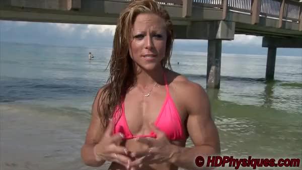 Watch Dani Reardon flexing at the beach GIF on Gfycat. Discover more MuscleWorship, hardbodies GIFs on Gfycat