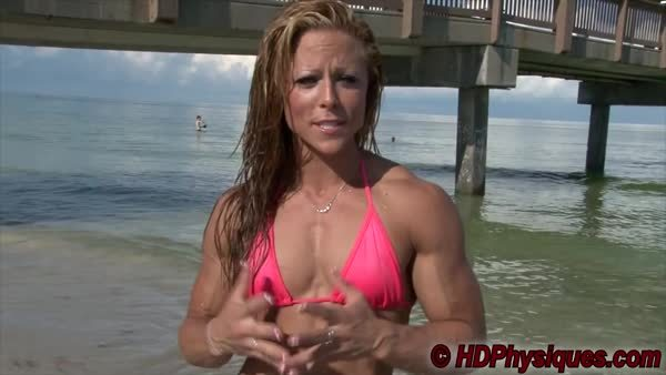 MuscleWorship, hardbodies, Dani Reardon flexing at the beach GIFs