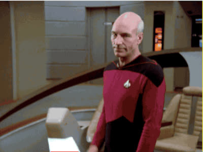 awkward, captain picard, hello, hey, hi, jean-luc picard, patrick stewart, picard, reaction, star trek, star trek the next generation, the next generation, tng, Picard Awkward Wave GIFs