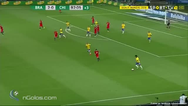 Watch and share (www.nGolos.com) Brazil [3]-1 Chile - Gabriel Jesus 90'+3' (WC 2018 - Qualifi.) GIFs on Gfycat
