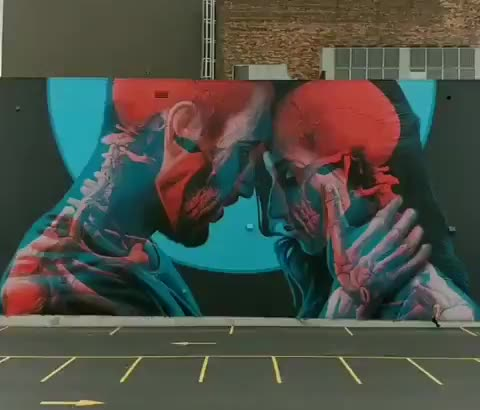 Incredible double exposure skeleton mural (@insane510 GIFs