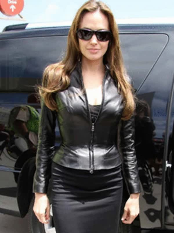 Watch and share BLACK STYLISH ANGELINA JOLIE LEATHER JACKET GIFs on Gfycat