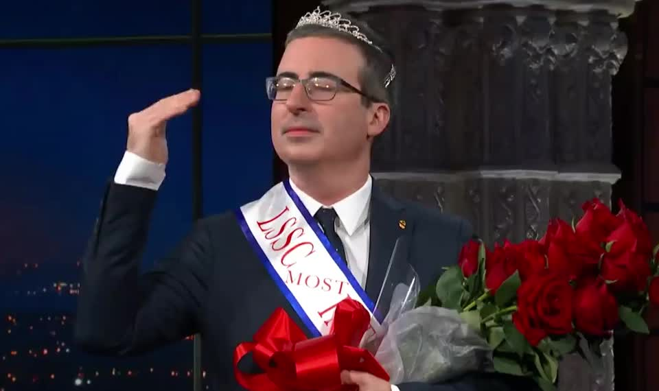 applause, beautiful, beauty, colbert, epic, funny, gracias, john, lol, oliver, pageant, proud, queen, stephen, thank, thanks, wave, win, winner, you, John Oliver's 'Late Show' Lifetime Achievement Award GIFs