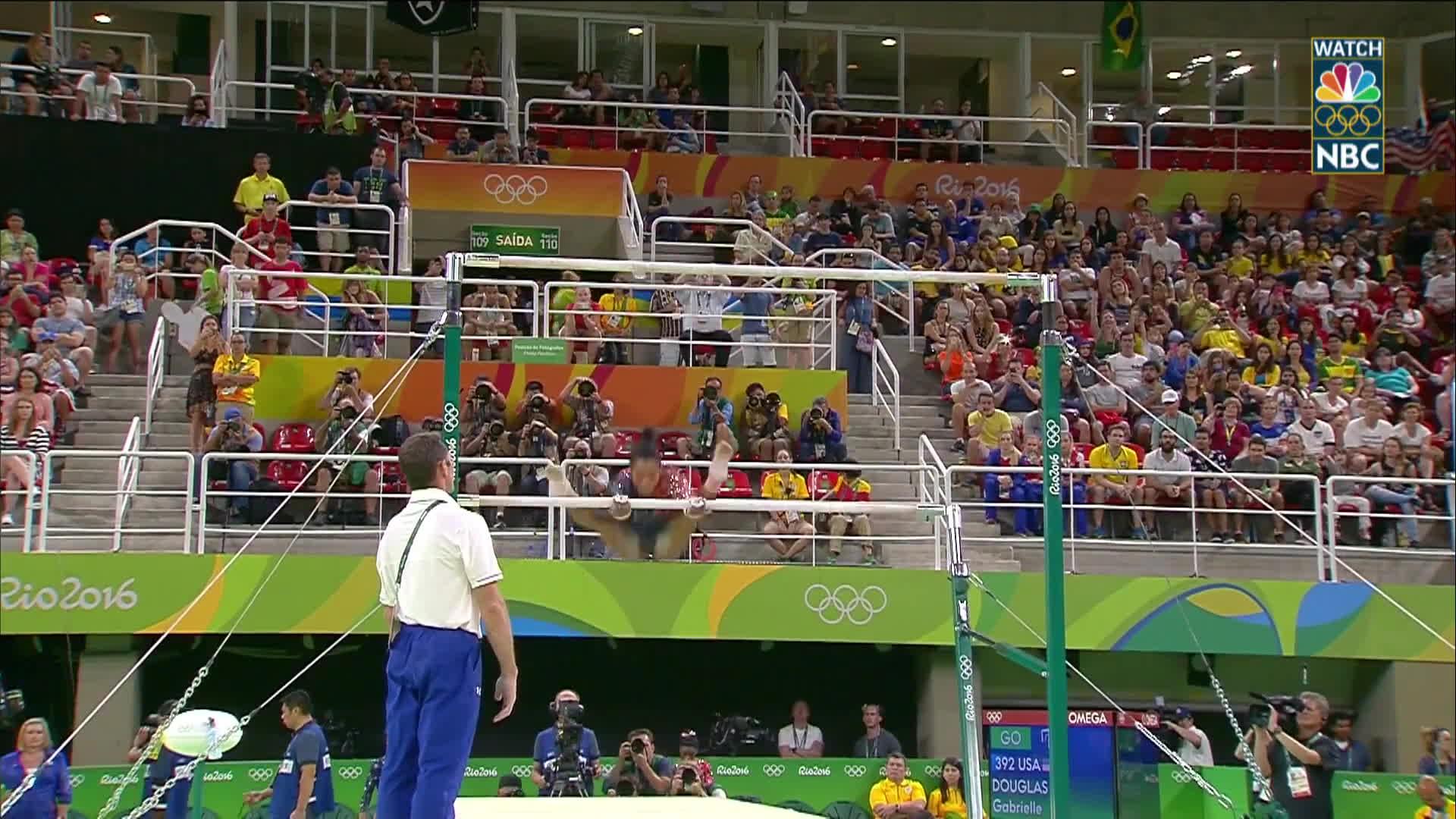 nbc sports, olymgifs, olympics, Gabby Douglas nearly flawless on uneven bar routine GIFs