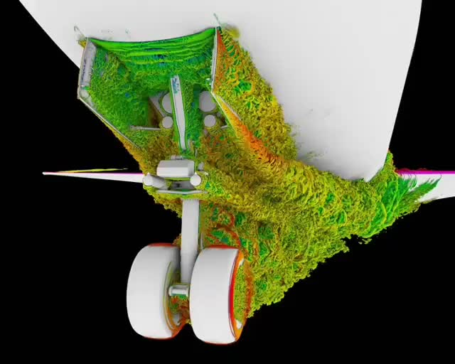 Watch Visualization of the air flow field around the nose landing gear of a Boeing 777 GIF by slimjones123 on Gfycat. Discover more airflow, awesome, gifs, simulation, trippy GIFs on Gfycat