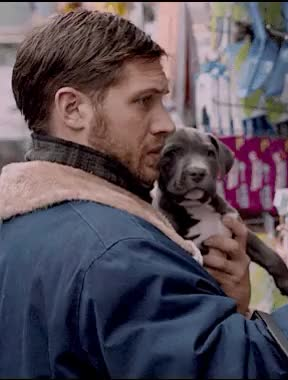 Watch this GIF on Gfycat. Discover more dog lover, dogs, interview, james gandolfini, noomi rapace, puppy, quote, the drop, tom hardy GIFs on Gfycat