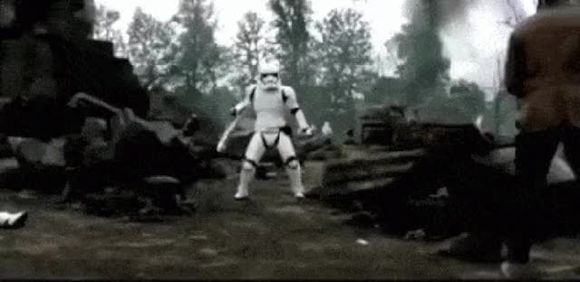 Watch and share Riot-Control Stormtrooper, The Unlikely Hero Of Star Wars GIFs on Gfycat