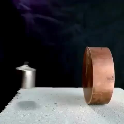 Copper isn't magnetic but creates resistance in the presence of a strong magnetic field, resulting in dramatically stopping the magnet befor GIFs