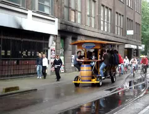 beer bike in amsterdam GIFs