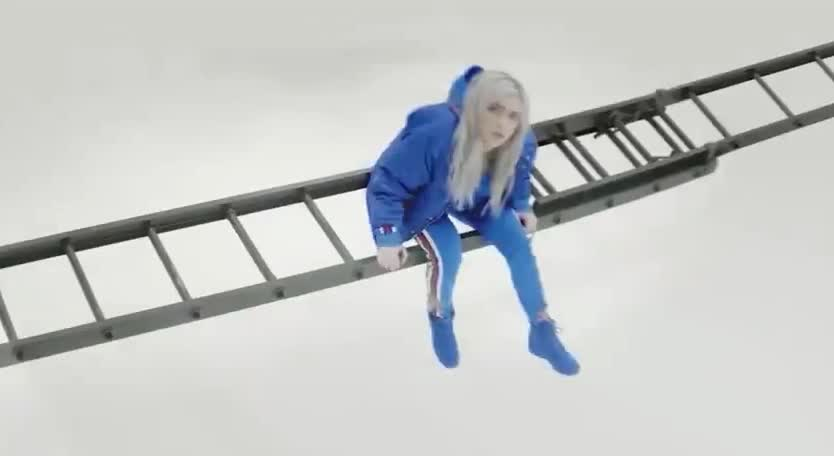billie, blue, bored, boring, clothes, eilish, forever, ilomilo, jacket, ladder, latter, new, restless, sit, sitting, song, stairs, tired, wait, waiting, Billie Eilish - ilomilo GIFs