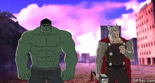 Watch and share Ad Ce Ef Thor Vs Hulk Hulk Thor GIFs on Gfycat