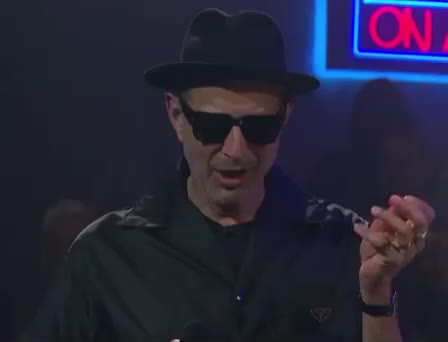 cool, devil, drop, dude, evil, fun, funny, goldblum, jeff, late, late late, lol, make, mic, night, sexy, show, sunglasses, surprise, the, Jeff's funny face GIFs