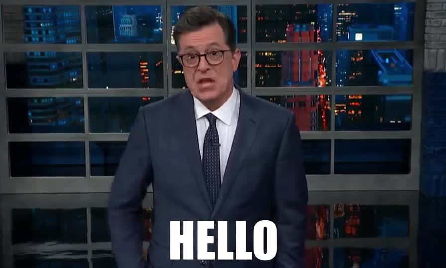answer, colbert, dis, donald, hello, hey, hi, is, mobile, phone, pick, pocket, ring, stephen, telephone, this, trump, up, who, your, Stephen Colbert - HELLO GIFs