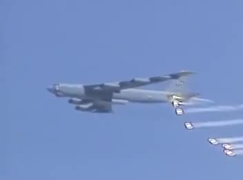 B-52H dropping M117 bombs in demonstration  (reddit) GIF by