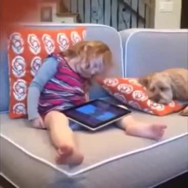 sleep, sleeping, sleepy, tired, zzz, Little sleepy girl wake up with dog GIFs