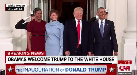 The Obama family meeting the Trump family at the White House