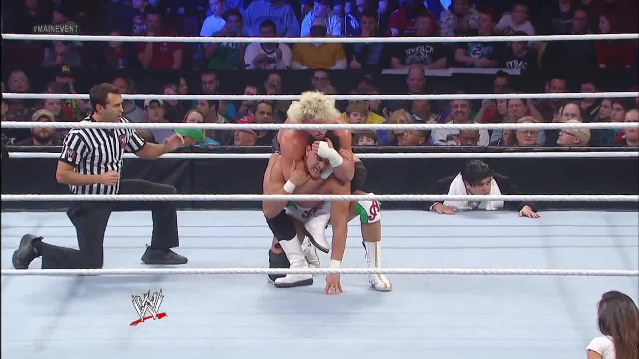 AJ Lee, Alberto Del Rio, Big E Langston, Dolph Ziggler, Ricardo Rodriguez, WWE Main Event, Outside the ring GIFs