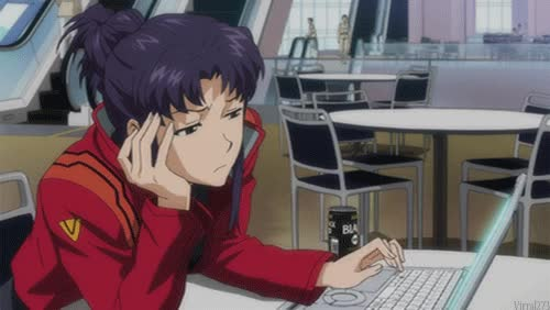 Watch this trending GIF by GIF Queen (@ioanna) on Gfycat. Discover more anime, bored, browse, emo, emotional, evangelion, internet, katsuragi, laptop, misato, sad, wait, waiting GIFs on Gfycat