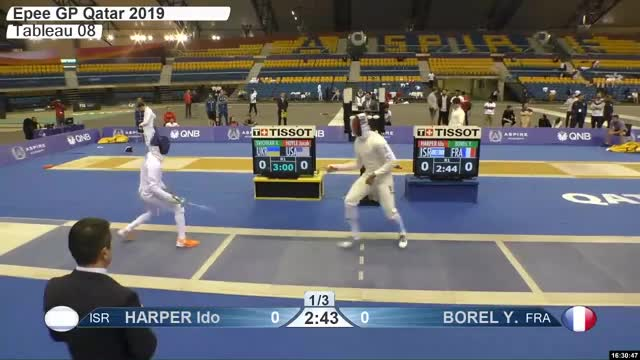 Watch HARPER Ido z 0 GIF by Scott Dubinsky (@fencingdatabase) on Gfycat. Discover more gender:, leftname: HARPER Ido z, leftscore: 0, rightname: BOREL Y, rightscore: 1, time: 00029112, touch: right, tournament: doha2019, weapon: epee GIFs on Gfycat