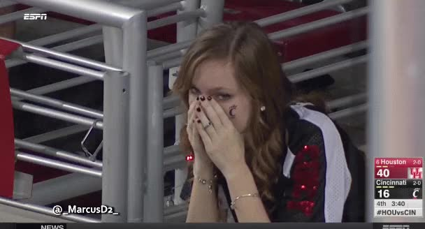 Watch and share Cincinnati Bearcats Fans Struggle Faces GIFs by MarcusD on Gfycat
