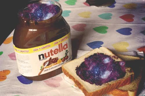 Watch and share Sweet, Galaxy, Chocolate, Delicious,  Food, Nutella, Hazelnuts GIFs on Gfycat