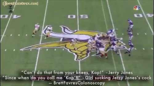 """Watch """"'Can't do that from your knees, Kap!' –Jerry Jones '""""Since when do you call me 'Kap'?' –Girl sucking Jerry Jones's c**k"""" -BrettFavresColono GIF by Unsurprised (@unsurprised) on Gfycat. Discover more cowboys, dallas, dallas cowboys, dfo, door flies open, doorfliesopen, doorfliesopen.com, football, nfl, quotables, roger goodell is a national disgrace GIFs on Gfycat"""
