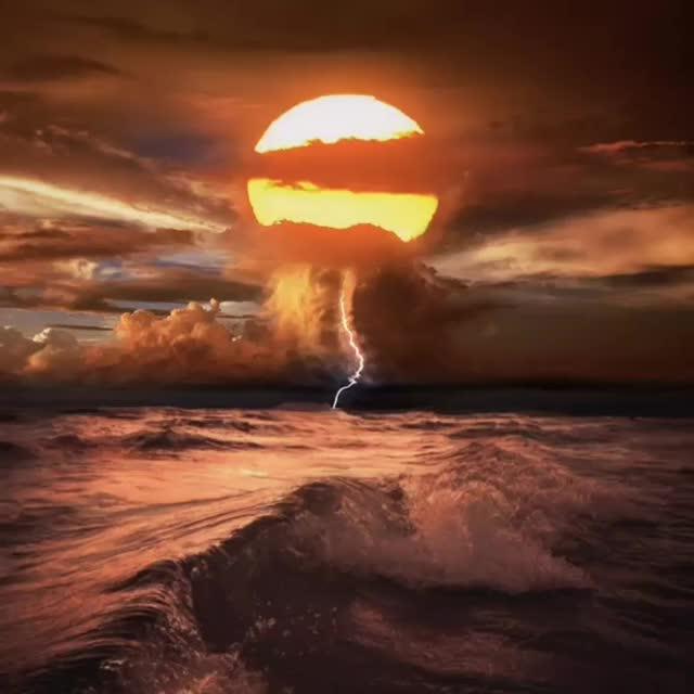 Sunset lightning ocean ominous waves animation- haunted