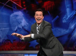celebrate, colbert, dance, dancing, excited, funny, happy, lol, party, smile, stephen, woohoo, yeah, Stephen Colbert is celebrating GIFs