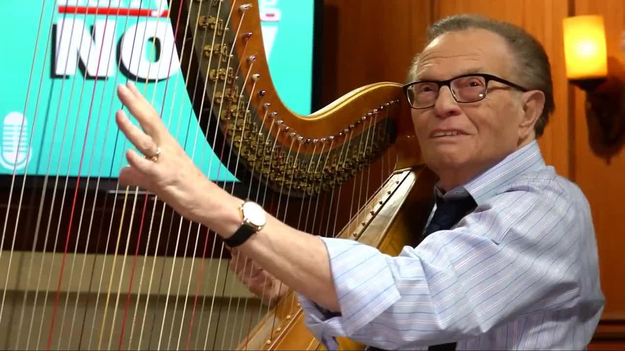 Angels, angels, harp, harpist, heaven, king, larry, larry king, play, watch, Larry King plays the harp GIFs