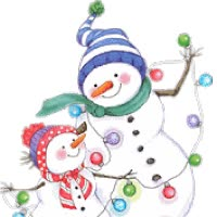 Watch and share Father And Son Snowmen With Christmas Lights Animated animated stickers on Gfycat