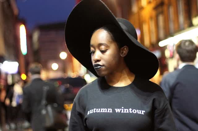 Watch and share Fashion Style Inspiration Autumn Wintour Jumper Sweatshirt Jenniferagwunobi Black Lipstick Big Hat All Black Fashion Week Paris Milan London GIFs on Gfycat