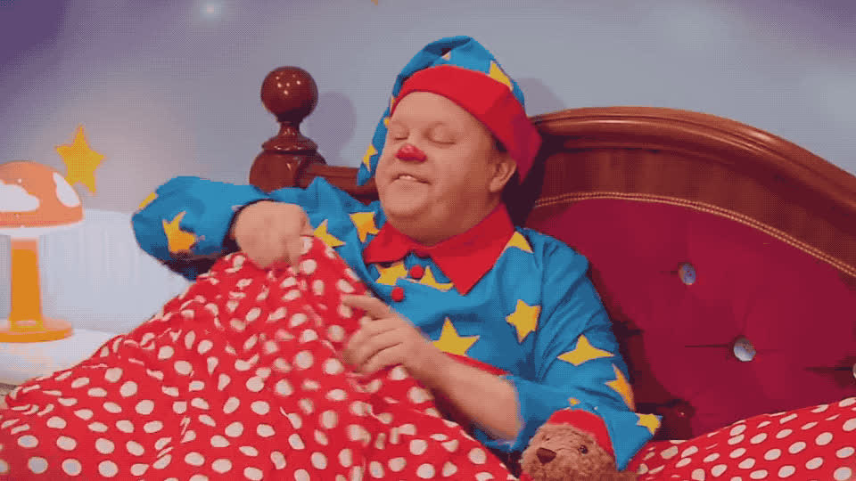 asleep, bed, bedtime, clown, comfy, cover, cozy, dream, fall, get, good, good night, goodnight, night, sleep, song, story, sweet, tight, tired, Cbeebies - Bedtime song GIFs